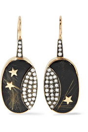 14-karat gold, rhodium-plated and multi-stone earrings