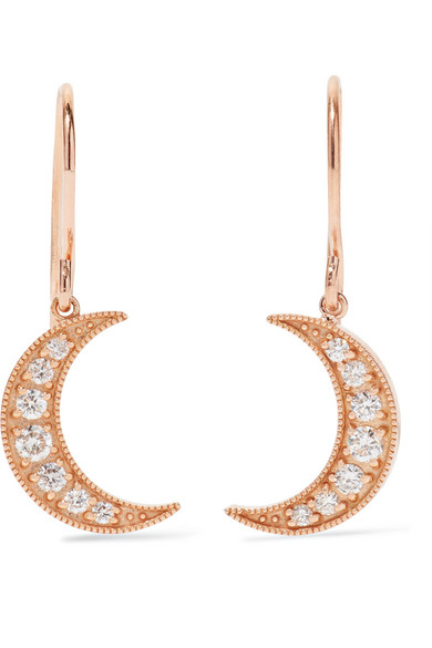 Andrea Fohrman - Mini Crescent 18-karat Rose Gold Diamond Earrings