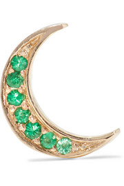 Mini Crescent 14-karat gold emerald earring