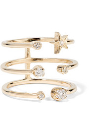 Triple Star 18-karat gold diamond ring