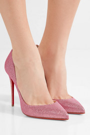 Christian Louboutin Pigalle Follies 100 glittered canvas pumps