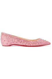 Christian Louboutin Spiked glittered canvas point-toe flats