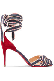 Christian Louboutin Christeriva 85 denim and suede sandals