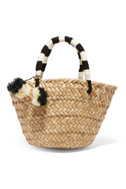 St Tropez mini pompom-embellished woven seagrass tote