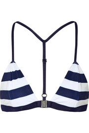 Louis striped triangle bikini top