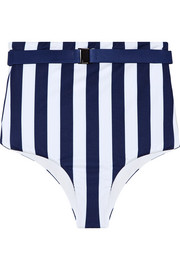Gregy belted striped bikini briefs