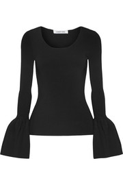 Elizabeth and James Willow bell-sleeve ribbed-knit top
