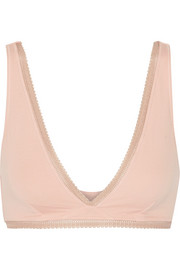 Skin Aria lace-trimmed stretch organic Pima cotton-jersey soft-cup bra