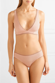 Aria lace-trimmed stretch organic Pima cotton-jersey briefs