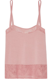 Lace-trimmed stretch-jersey pajama top