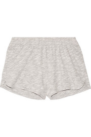 Cotton-blend mouliné pajama shorts
