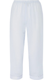 Cropped cotton-gauze pajama pants