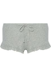 Ruffle-trimmed ribbed Pima cotton pajama shorts