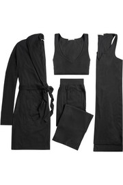 Ribbed stretch-jersey travel set