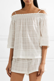 Off-the-shoulder crinkled cotton-gauze pajama top