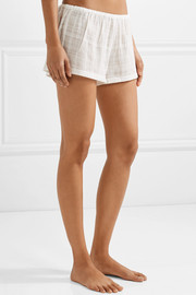 Crinkled cotton-gauze pajama shorts