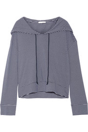 Striped Pima cotton and modal-blend hooded top