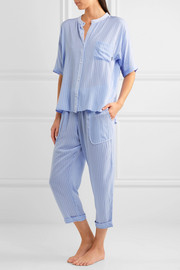 DKNY The Lineup striped modal-blend voile pajama set