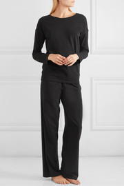 Stretch-Pima cotton jersey track pants