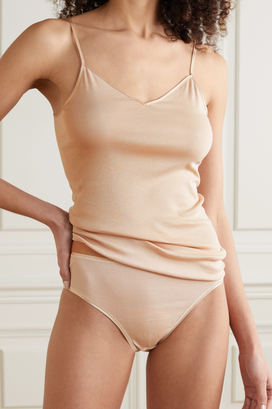 Hanro Satin-trimmed mercerized cotton camisole