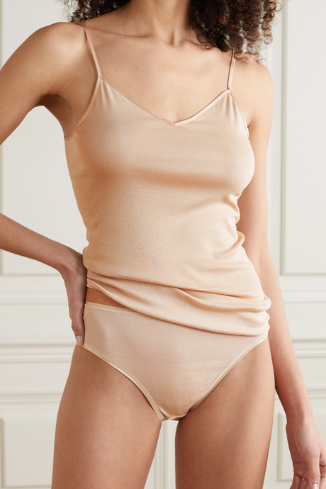 Satin-trimmed mercerized cotton camisole
