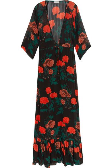 GANNI - Newman Floral-print Georgette Maxi Dress - Black