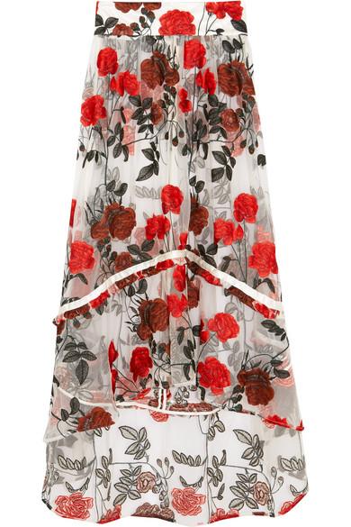 GANNI - Monroe Embroidered Tulle Maxi Skirt - DK34