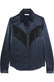 GANNI Donnelly fringed satin shirt