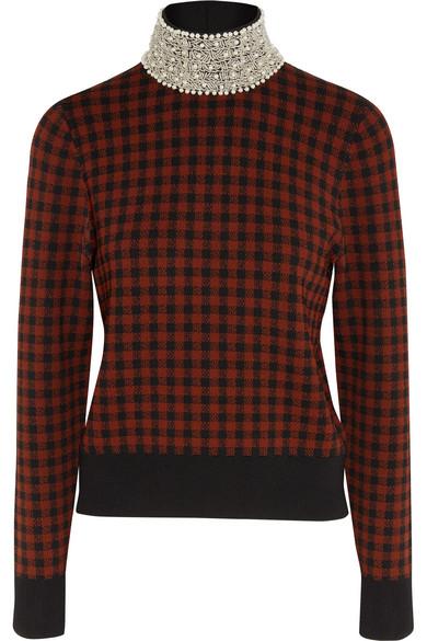 GANNI - Loras Embellished Jacquard-knit Turtleneck Sweater - Brick