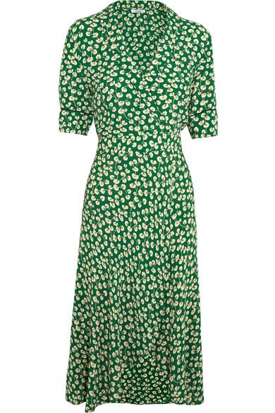 b34f0873 GANNI | Dalton floral-print crepe wrap dress | NET-A-PORTER.COM