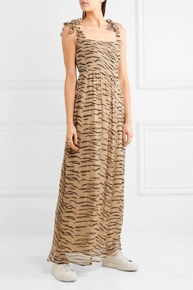 108e4a26 GANNI | Whitman animal-print plissé chiffon maxi dress | NET-A ...