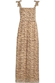 GANNI Whitman animal-print plissé chiffon maxi dress