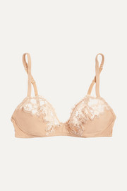 Souple lace and stretch cotton-blend jersey soft-cup bra