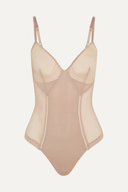 Haute Contour Nouveau String-Body aus Stretch-Mesh