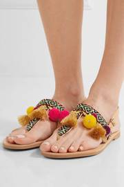 Aeesha appliquéd embellished leather sandals