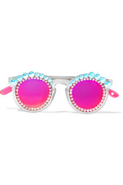 Lulu round-frame embellished matte-acetate mirrored sunglasses