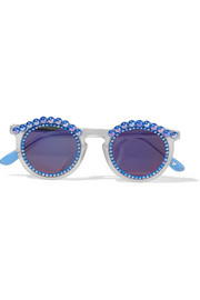 Tosca round-frame embellished matte-acetate mirrored sunglasses