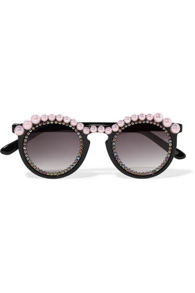 Jane round-frame embellished acetate sunglasses
