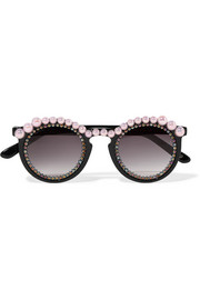 Jane round-frame embellished acetate sunglasses