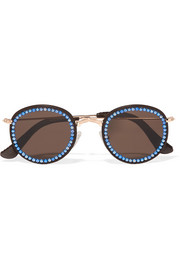 Vic embellished faux leather-trimmed round-frame gold-tone sunglasses