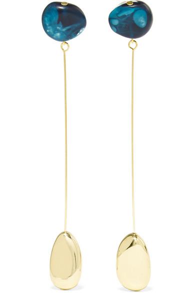 Dinosaur Designs - Mineral Drop Gold-filled Resin Earrings - Blue