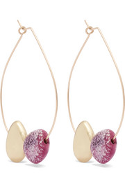 Dinosaur Designs Small Mineral gold-filled resin hoop earrings