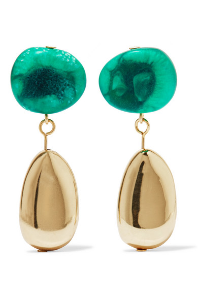 Dinosaur Designs - Short Mineral Gold-filled Resin Earrings - Emerald