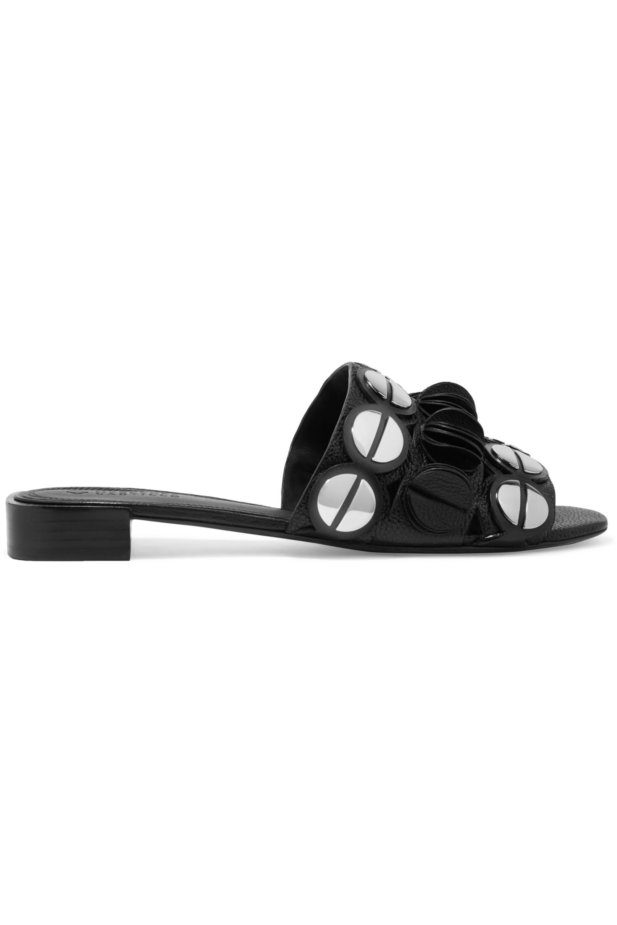 Mercedes Castillo Farrah embellished textured-leather slides
