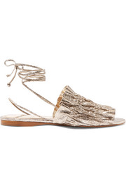 Mercedes Castillo Alesandra metallic cracked-leather sandals