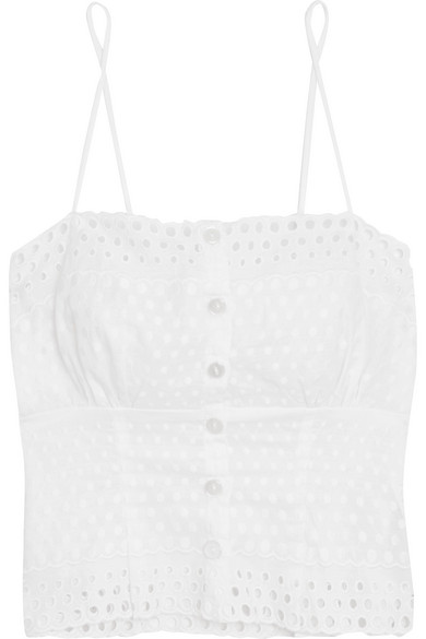 Hanky Panky - Eyelet Broderie Anglaise-trimmed Embroidered Chiffon Camisole - White