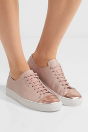 Metallic-trimmed leather sneakers