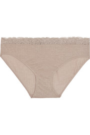 Millie lace-trimmed ribbed jersey briefs
