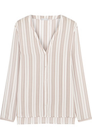 Hanro Lara striped voile pajama shirt
