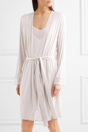Leah chiffon-trimmed modal and silk-blend jersey robe